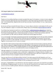 FOCS - President's August 2020 Message
